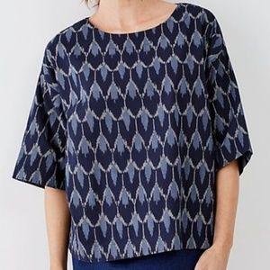 Pure Jill Blue Ikat Boxy Crop Top Kimono Blouse-M